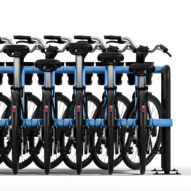 Zoov's electric share bicycles lock together like shopping trolleys