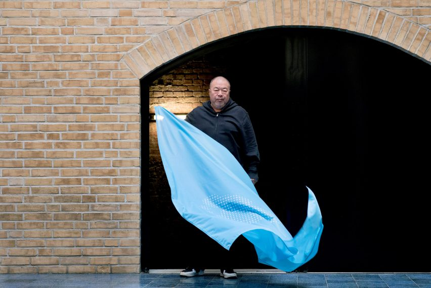 Ai Weiwei designs blue footprint flag to encourage people to celebrate the 70th anniversary of the Universal Declaration of Human Rights