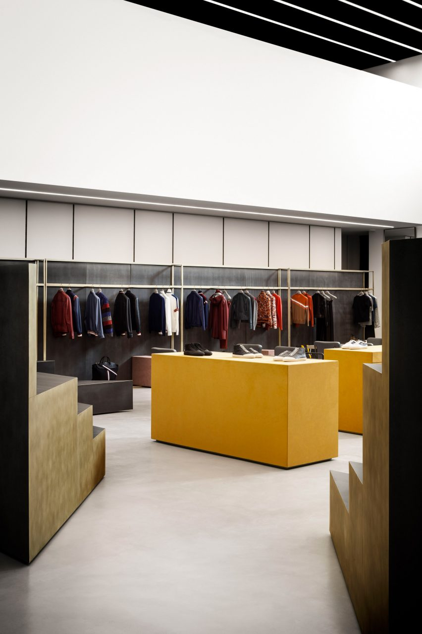 Interiors of Bally fashion store in Milan by Storage Associati