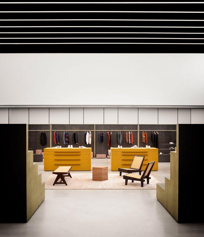 Interiors of Bally fashion store in Milan by Storage Associati