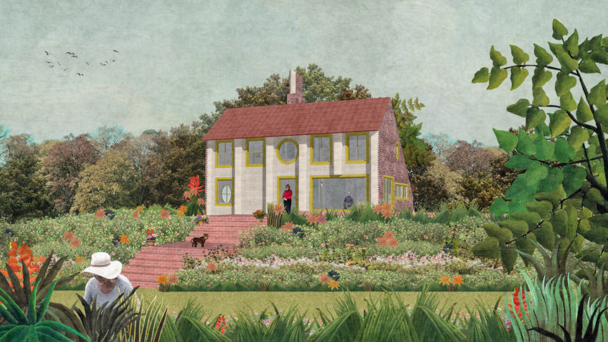Visual of the rear elevation of Charles Holland Architects' country house in Kent