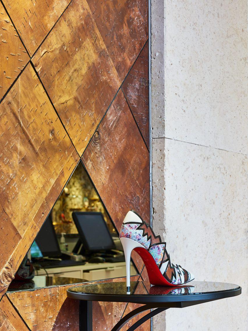 2dfa10dd8ce Tree bark covers Christian Louboutin boutique in Miami Design District