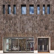 Tree bark covers Christian Louboutin boutique in Miami Design District