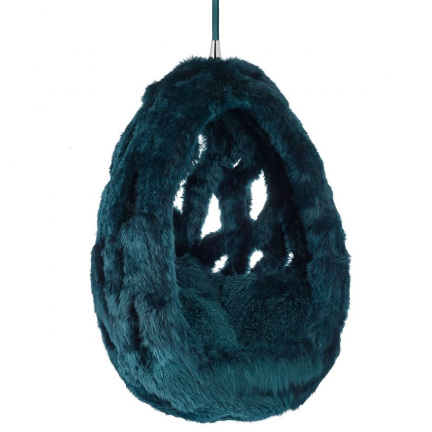 Cocoon hanging sheepskin hanging chair by Campanas