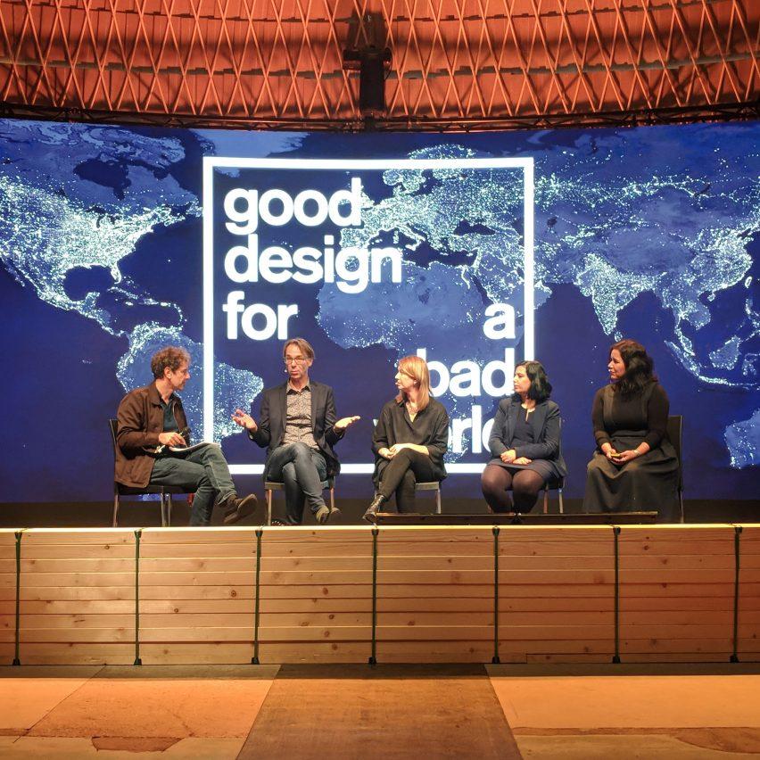 The panel for Dezeen's Good Design for a Bad World talk during Dutch Design Week 2018