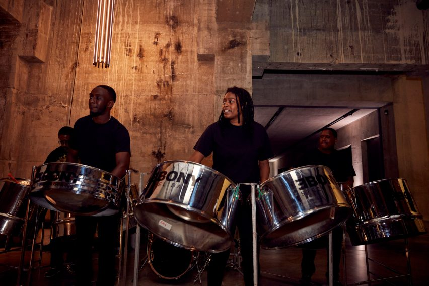 Ebony Steelband Trust performing at Dezeen Awards ceremony