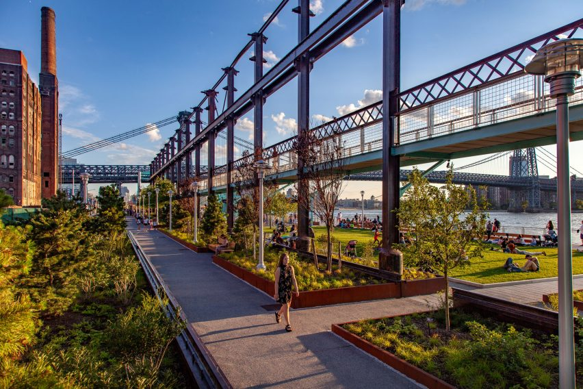 Landscape architecture at Domino Park, New York City