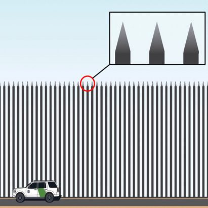 Visualisation of Donald Trump's proposed Steel Slat Barrier for the US-Mexico border
