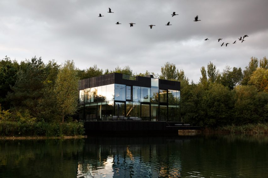 Glass Villa in the lake by Mecanoo in Lechlade, United Kingdom