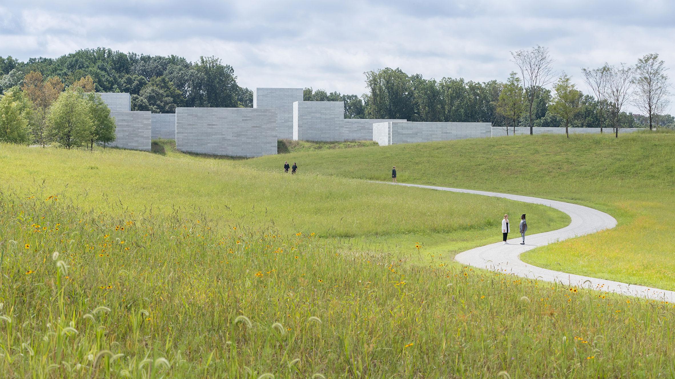 Landscape architecture on the approach to Glenstone Pavilions, Potomac