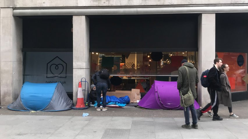 Rough sleepers camping outside a shop in central London