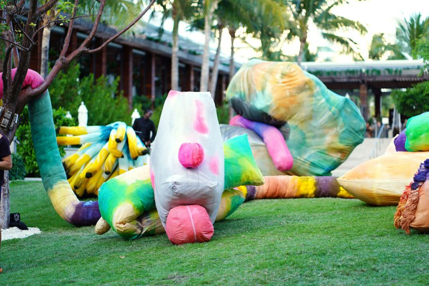 Misha Kahn inflatable sculptures at the Miami Beach Edition