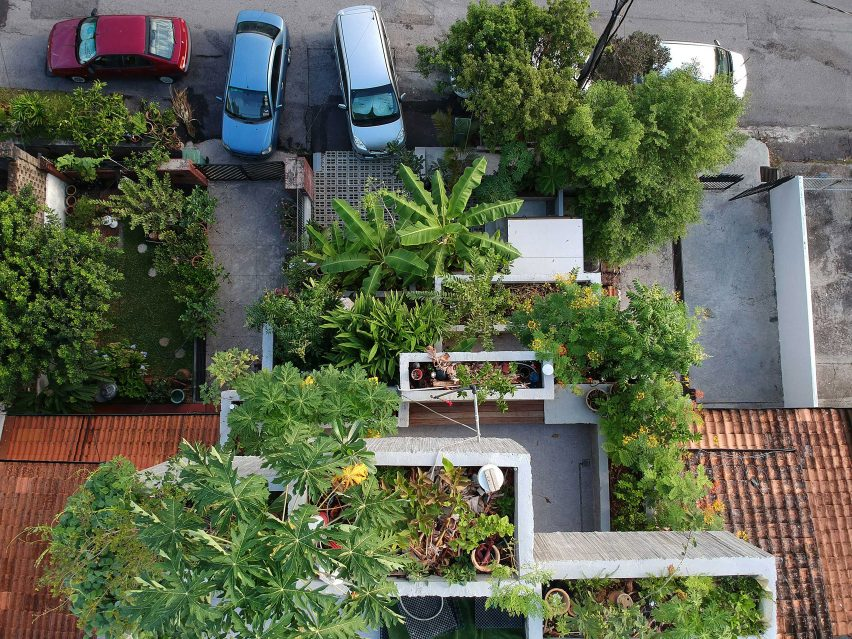 Aerial view of Planter Box House in Kuala Lumpur by Formzero