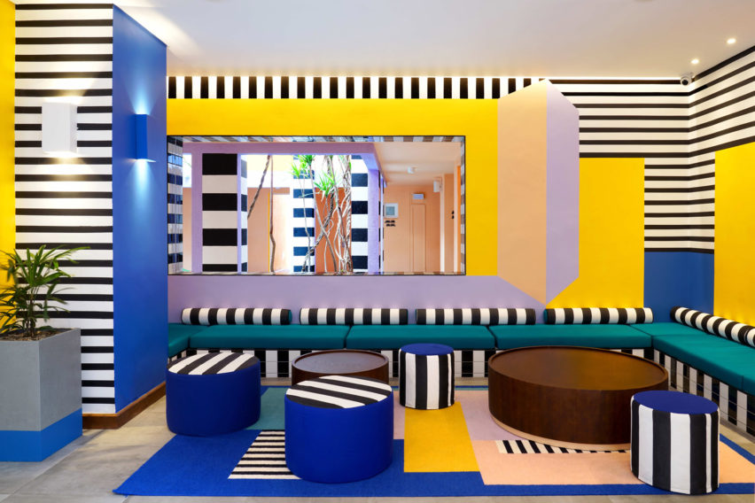 Interiors of SALT of Palmar hotel, Mauritius, by Camille Walala