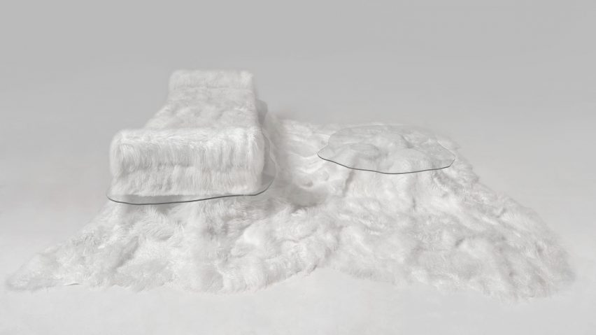 Sofa Pelo sheepskin daybed and table by Guillermo Santomá