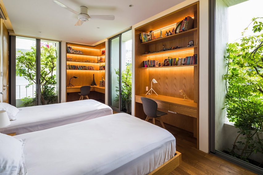Bedroom in Stepping Park House by Vo Trong Nghia in Ho Chi Minh City, Vietnam