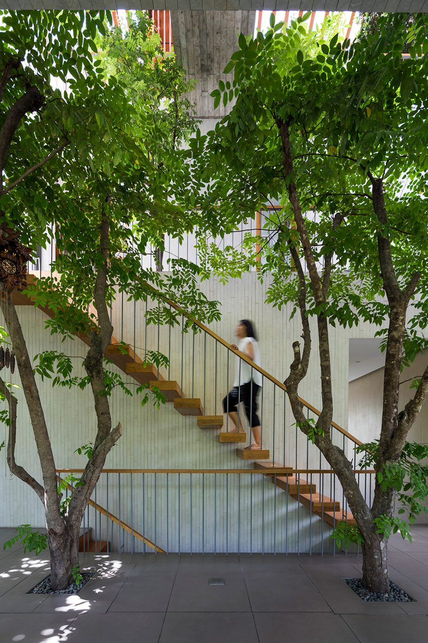 Staircase in Stepping Park House by Vo Trong Nghia in Ho Chi Minh City, Vietnam