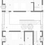 First floor plan of Stepping Park House by Vo Trong Nghia in Ho Chi Minh City, Vietnam