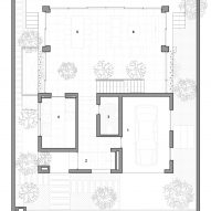 Ground floor plan of Stepping Park House by Vo Trong Nghia in Ho Chi Minh City, Vietnam