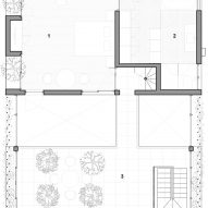 Second floor plan of Stepping Park House by Vo Trong Nghia in Ho Chi Minh City, Vietnam