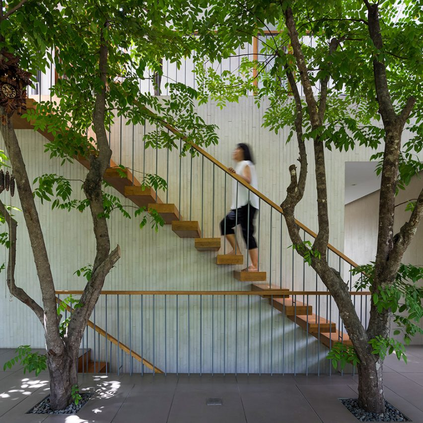 Staircase inside of Stepping Park House by Vo Trong Nghia in Ho Chi Minh City, Vietnam