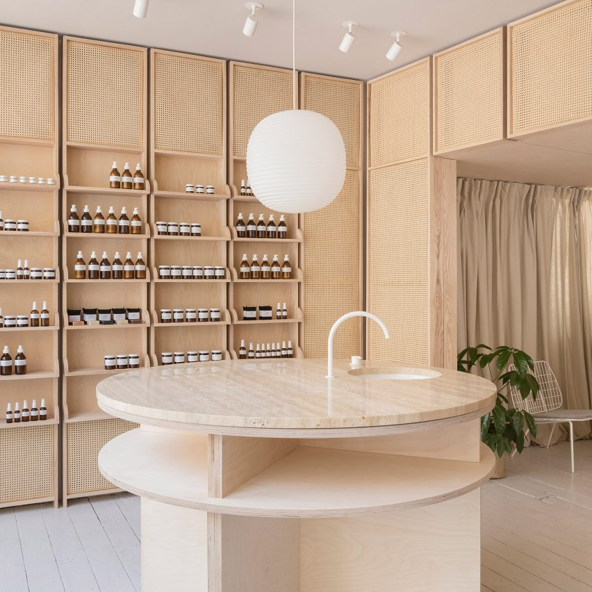 Dezeen's top 10 shops of 2018: RÖ Skin by O'Sullivan Skoufoglou Architects