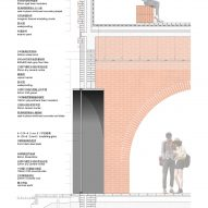 Wall detail of Tower of Bricks art centre in China by Interval Architects