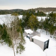YH2 nestles cedar-clad Triptych ski retreat into snowy Quebec woods