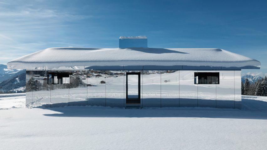 Doug Aitken's mirrored Mirage house installed in Swiss alps