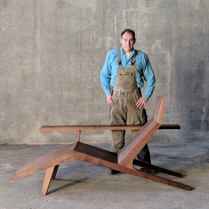 Joep van Lieshout with his Liberty Lounger chair for Moooi