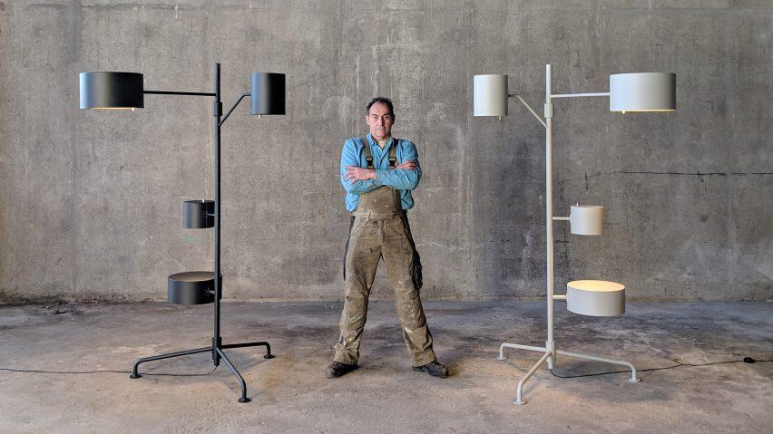 Joep van Lieshout with his Statistocrat lamp for Moooi