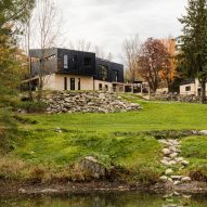 Industrial and earthy materials form Abercorn Chalet in Quebec
