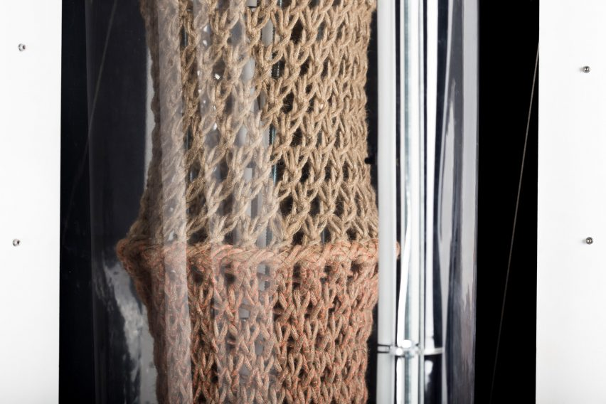 Bastian Beyer develops textile tectonics by calcifying knitted structures