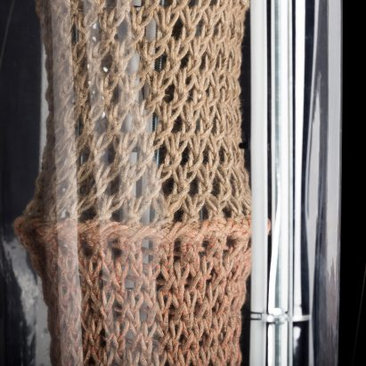 Bastian Beyer uses bacteria to calcify knitting into construction materials