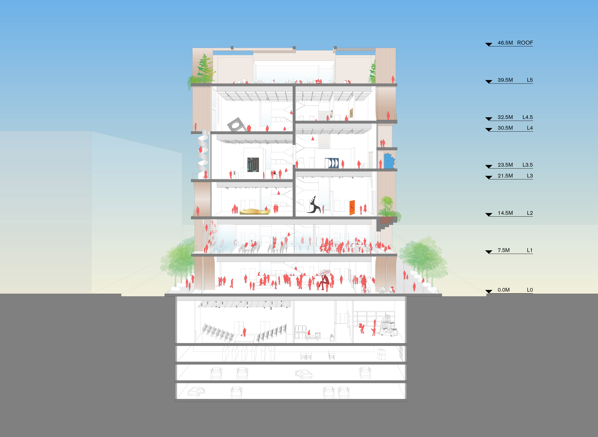 Balconies will double as exhibition space in WORKac's Beirut Museum