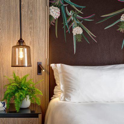 Bompass & Parr vegan hotel room inside Hilton London Bankside hotel