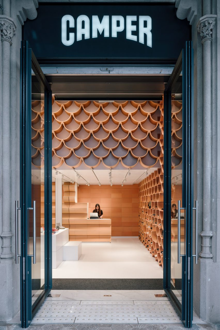 Camper store in Barcelona, designed by Kengo Kuma