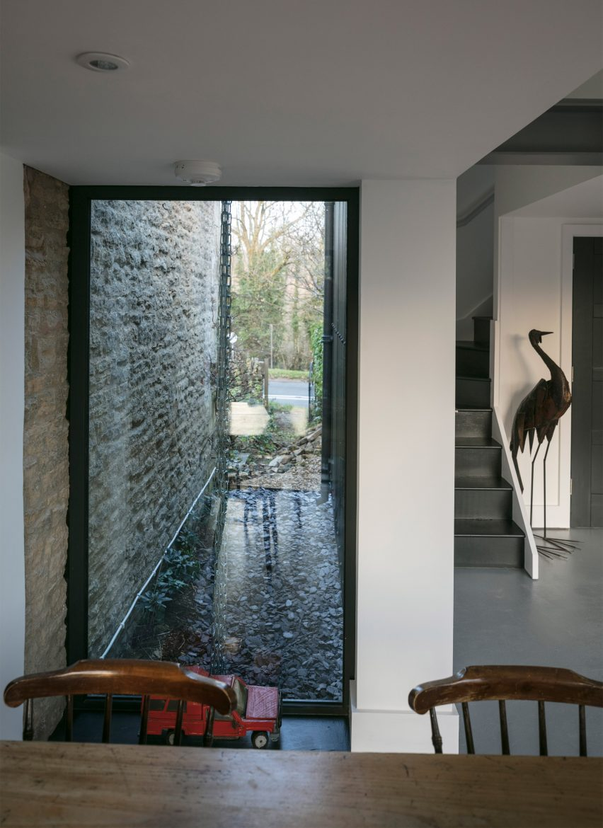 Interiors of Eastabrook Architects's corrugated metal house extension