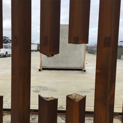 Steel-slat Mexican border prototype sliced by saw