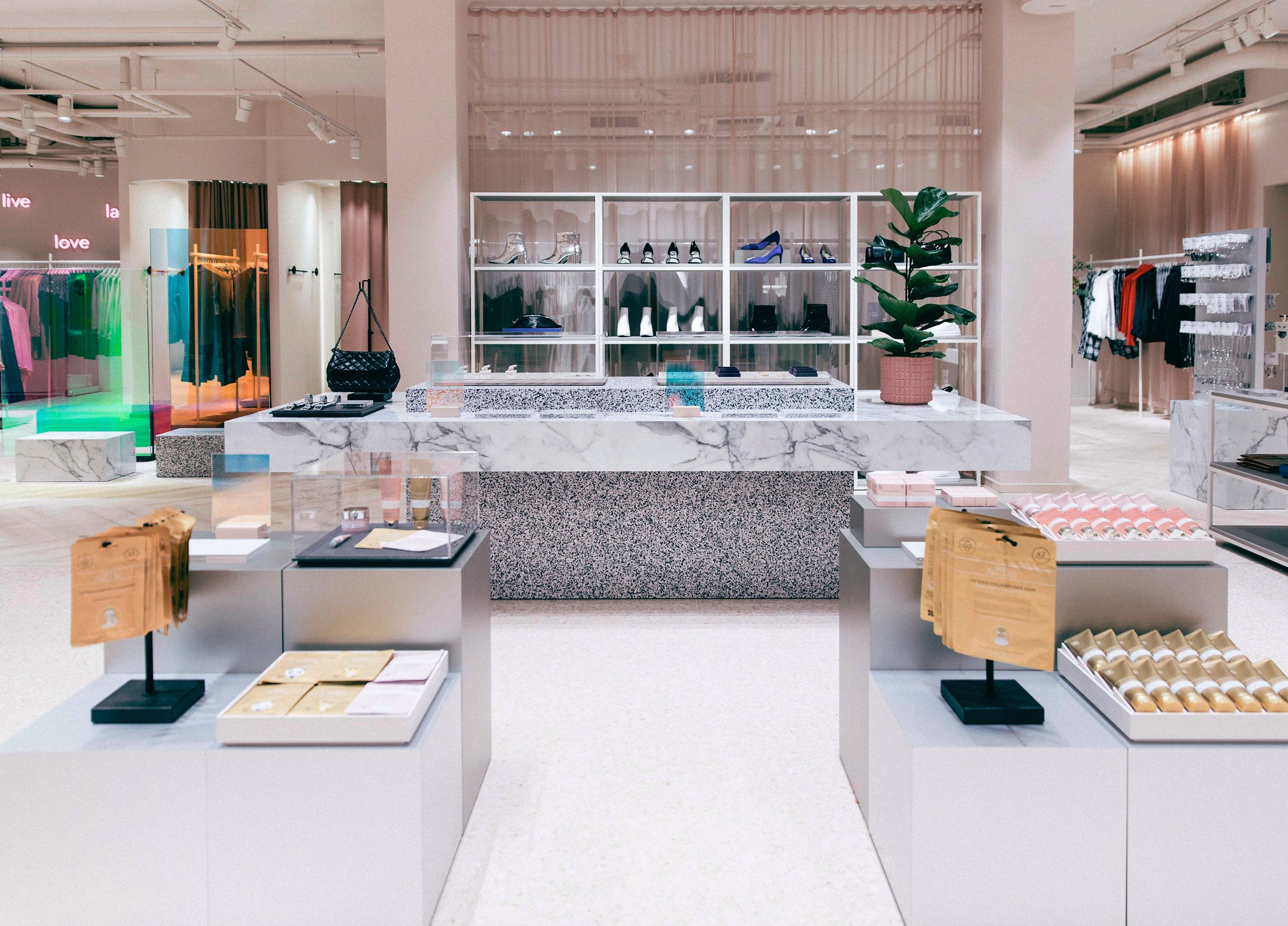 Interiors of Gina Tricot fashion store, designed by Note Design Studio and Open Studio