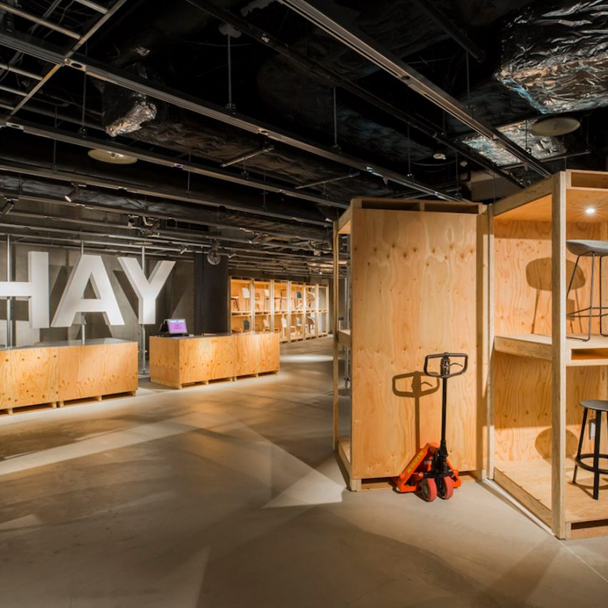 Schemata Architects completes industrial-style pop-up store for Hay