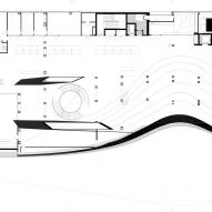 Middle floor plan of Oodi Helsinki Central Library by ALA Architects