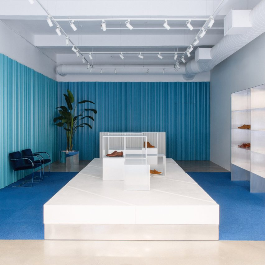 Striated blue-teal aluminium walls wrap Jack Erwin flagship in New York