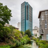 Metropolitan Workshop covers tower of modular homes with glazed ceramic tiles