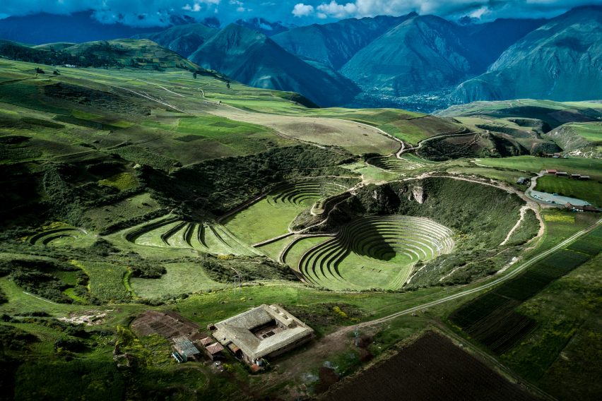 Fraying grass roof tops Mil Centro restaurant in Peru's Sacred Valley