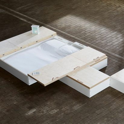 Juul de Bruijn designed a storage solution called MoreFloor that hides furniture underneath floorboards.