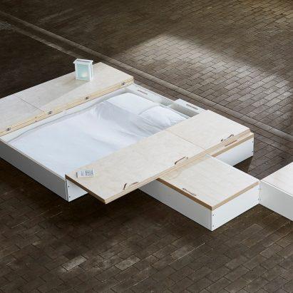 Juul de Bruijn designed a storage solution called MoreFloor that hides furniture underneath floorboards.