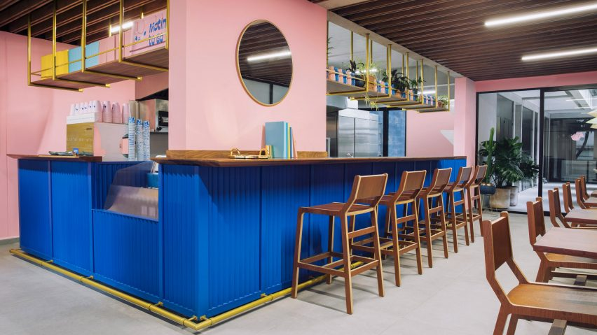 8bba29f1d52f Futura pairs pink and blue at Mexico City coffee shop Motín