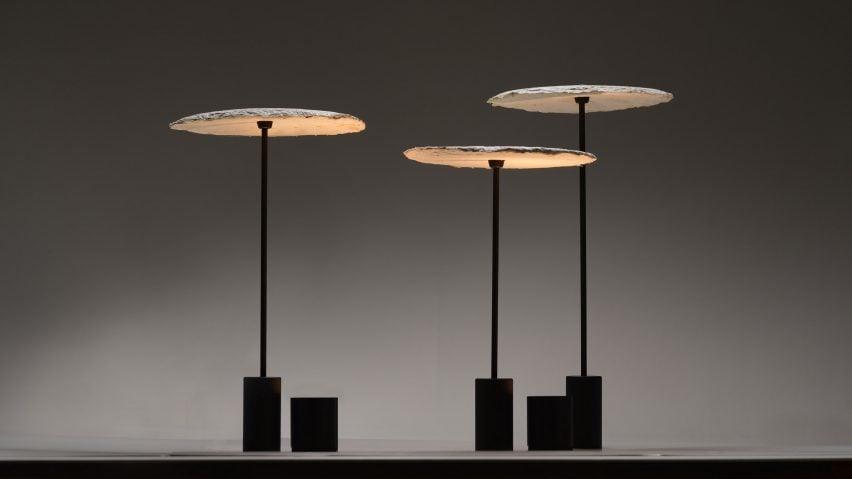 Nir Meiri makes sustainable lamp shades from mushroom mycelium