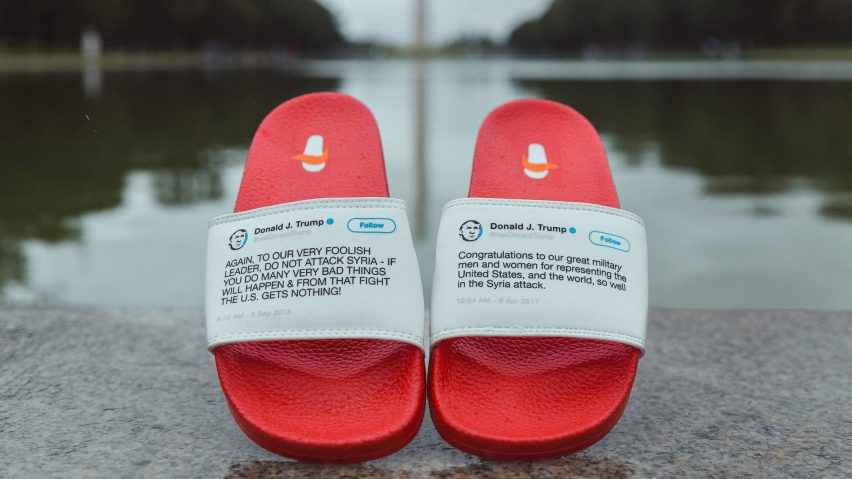 60ade5a6157 Trump s contradictory tweets emblazoned on President Flip Flops